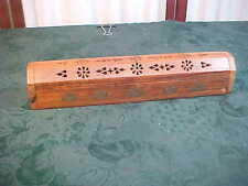 Carved Wood & Brass Designed Incense Stick Burner Box w/Storage