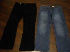 Lot Of 2 Men's Merona Pants Black Corduroy 40x32 Medium Blue Jeans 40x30