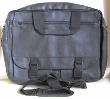 "NEW 15"" LAPTOP CASE BLACK FAUX LEATHER WITH SHOULDER STRAP bag"