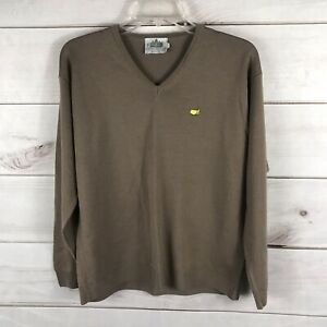Clubhouse Collection Brown 100% Merino Wool Masters logo golf sweater Large