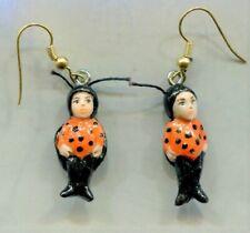 Ladybugs Earrings French Hooks Fairy Charm Ornament Miniature Art Sculpt Jl Biel