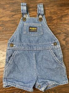 VINTAGE OshKosh B'Gosh Denim Vestbak Overall Shorts Size 18 Month 18M USA Made