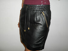 NEW WOMAN'S LADIES FULLY LINED 100% SOFT BLACK LEATHER SKIRT SIZE 8 TO 18