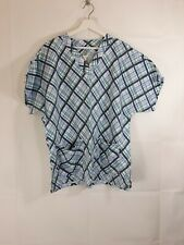 UTY Sized M Scrub Top Multicolored Plaid Medical Uniform Shirt Striped V Neck