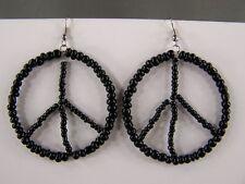 Black beaded Peace Sign hoop earrings seed bead dangle hoops lightweight