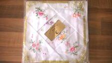 Six Vintage Castlebridge Linen embroidered handkerchiefs new in original package