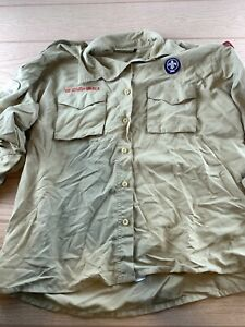 Boy Scout of America Ladies Long Sleeve Tan Button up Shirt Size Large Nylon