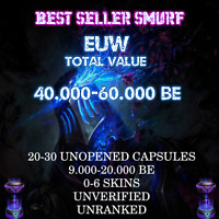 League of Legends Account LOL EUW Smurf 25000 BE + 20 Capsules Level 30 Unranked