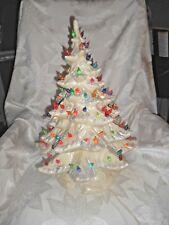 "Vintage Creamy White Pearl Ceramic Christmas Tree 19 1/2"" Glitter Flock"