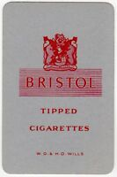 Playing Cards 1 Swap Card - Old Vintage Wills BRISTOL Tipped Cigarettes SMOKING