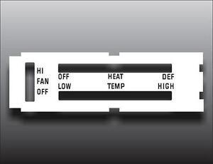 1970-1976 Dodge Dart Non-AC Vent White Heater Control Switch Overlay HVAC