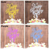10pcs Glitter Gold Bowknot Cake Topper Happy Birthday Wedding Party Decoration