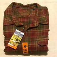 Orvis men heavyweight flannel shirt w/hand warmer pockets, Orange sz XXL, NWT