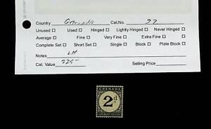 GRENADA SURCHARGE POSTAGE 2d RARE LH MINT STAMP CV $225