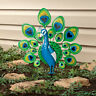 Colorful Bright Peacock Bird Metal Stake Garden Statue Yard Art Lawn Ornament