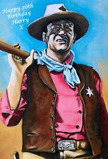JOHN WAYNE ICONIC 'POPART' (3) PERSONALISED BIRTHDAY CARD LARGE ANY NAME!!