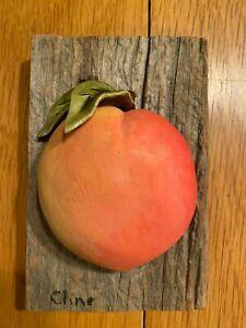 Original Carol Cline Ceramic Hand Sculpted Peach Fruit NEW