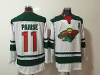 Zach Parise Minnesota Wild #11 stitched jersey white/green men's player game