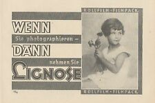 Y4943 Rollfilm und Filmpack LIGNOSE - Pubblicità d'epoca - 1927 Old advertising
