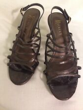 Nickels Ladies Steel Color Strappy Sandals Heels Summer Sexy Sling Back Size 7.5