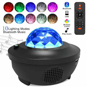 LED Galaxy Projector Night Light Music Player Remote Luminaria for Bedroom Lamp