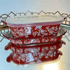 temp-tations Floral Lace 0.5 Quart Red Baker 3 pc Baking Holiday New #N1