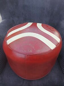 Vintage / Retro Red & White Leather Pouffe / Footstool by Sherborn, Camels &...