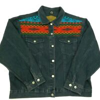 Vtg 80s WOOLRICH Aztec Jean Jacket MADE IN USA Black Denim Southwest Navaho L