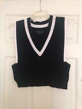 Banana Republic Sweater XS New Black White Trim Cropped V-Neck Cotton Bld Preppy
