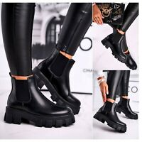 Womens Chelsea Ankle Boots Chunky Sole Ladies Heel Platform Goth Punk Shoes Size