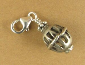Old /antique silver clip-on charm. Indian tribal decorative bead. Sterling 925.