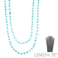 """72"""" Long 8mm Glass Knotted Blue Wrap Around Necklace"""
