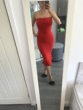 Red midi Bandage Dress with frill hem - Size M (Fit: Size 8) - Worn Once