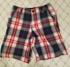 EUC Boys youth Faded Glory red white and blue plaid shorts 7 Summer