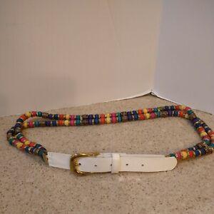 """Ladies Belt White Leather? & Rainbow Color Beadwork Hippie Boho 36"""" EUC"""