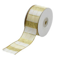 10Yds Roll 1.5'' Tartan Plaid Christmas Wired Ribbon Craft For Gift Wrapping