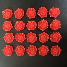 20 x 12mm Red Flower Resin Cabochon Embellishments Flower Earrings Craft