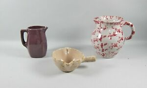 3pc Lot of Bybee Pottery SPONGED & SOLID Pottery Pieces Red, Yellow, Purple