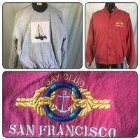 JACKET BOMBER VINTAGE S MEN FULL ZIP LARGE BAY CLUB SAN FRANCISCO SAILING RED