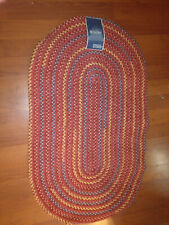 """Homemaker Oval Braided Rug 30"""" x 50"""" with stitch-lok red maroon olefin"""