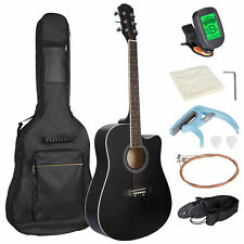 """Black 41"""" Full Size Beginner Acoustic Guitar with Case Strap Capo Strings Tuner"""