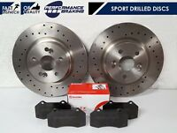 FOR RENAULT CLIO SPORT RS 2.0 16V 197 200 FRONT DRILLED BRAKE DISCS BREMBO PADS