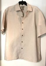 Madison Mens Beige Linen Blend Button Down Shirt Stitched Size Large NWT