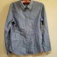 J.Jill Women's 100% Cotton Chambray Top Button Long Sleeve Blue Shirt Sz Small.