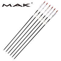 6PCS Carbon 33'' Turkey Feathers Spine 500 Arrow 7.6mm Archery Hunting Sports