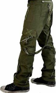 TRIPP BONDAGE STRAPS ZIPPER GOTHIC PUNK ARMY GREEN GOTH JEANS PANTS