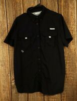 Columbia Large Women's Black Button Front Fishing Shirt Vented Short Sleeve L