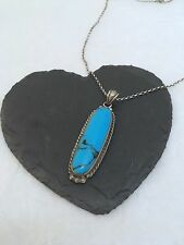"""Sterling silver Navajo style turquoise cabochon pendant 22"""" necklace"""