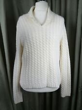Angora Lambswool Cream Cable Knit Cowl Neck Jumper by Rosanna XL UK14 EU42