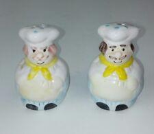 Chef Salt & Pepper S&P Shakers Pair Ceramic White Mustache Men Tableware Collect